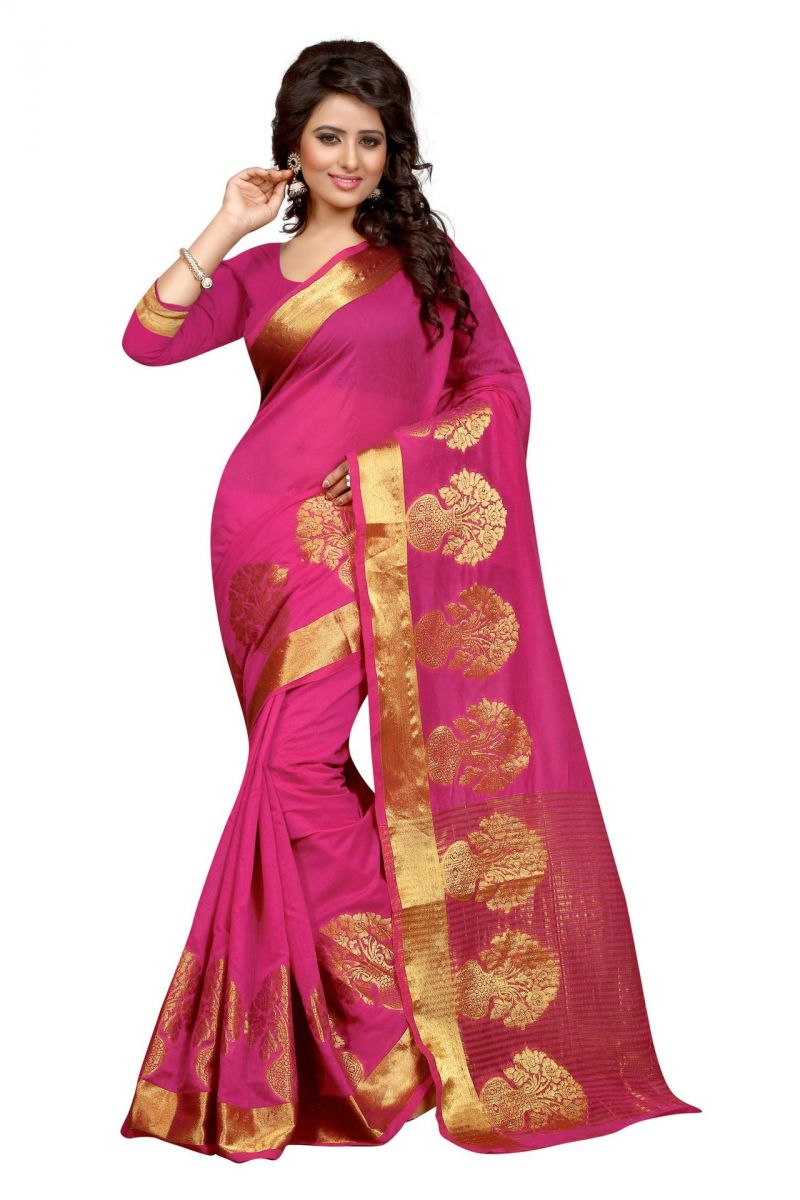 Buy Holyday Womens Poly Cotton Saree, Pink (raj_pot_pink) online
