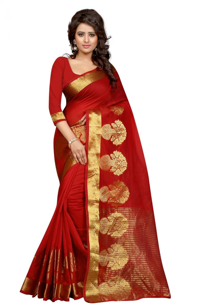 Buy Holyday Womens Poly Cotton Saree, Red (raj_pot_red) online