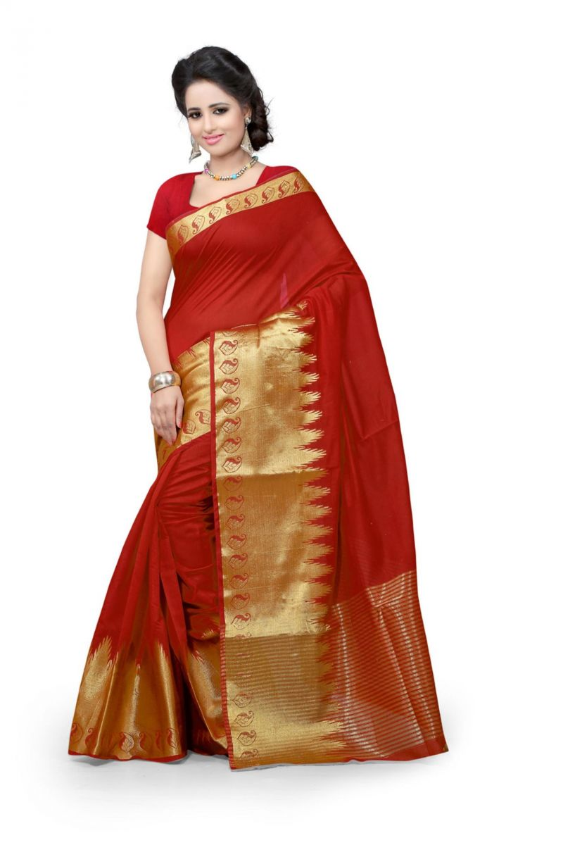 Buy Holyday Womens Poly Cotton Saree, Red (raj_red_kery.) online