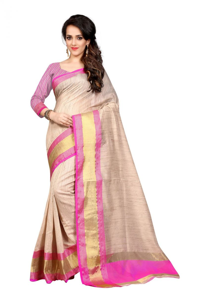 Buy Holyday Womens Cotton Silk Saree, Pink (raj_simple_pink) online