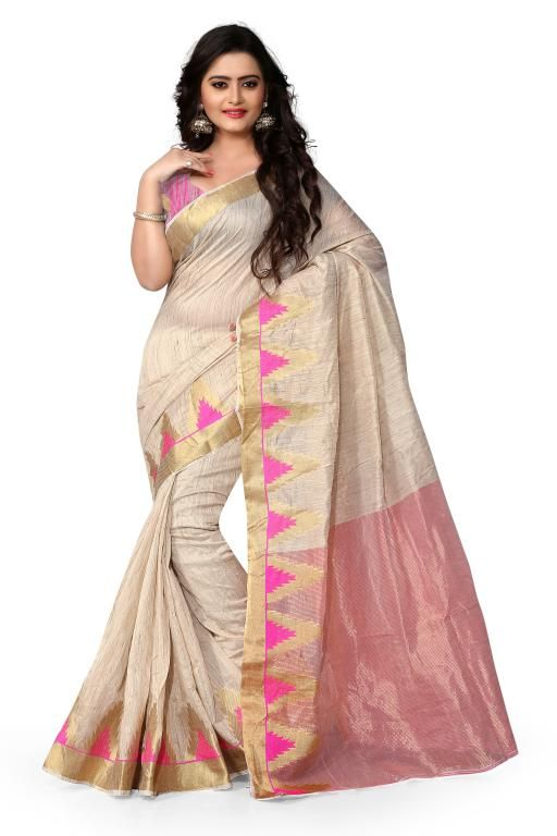 Buy Holyday Womens Cotton Silk Self Design Saree, Pink (raj_tringal_pink) online