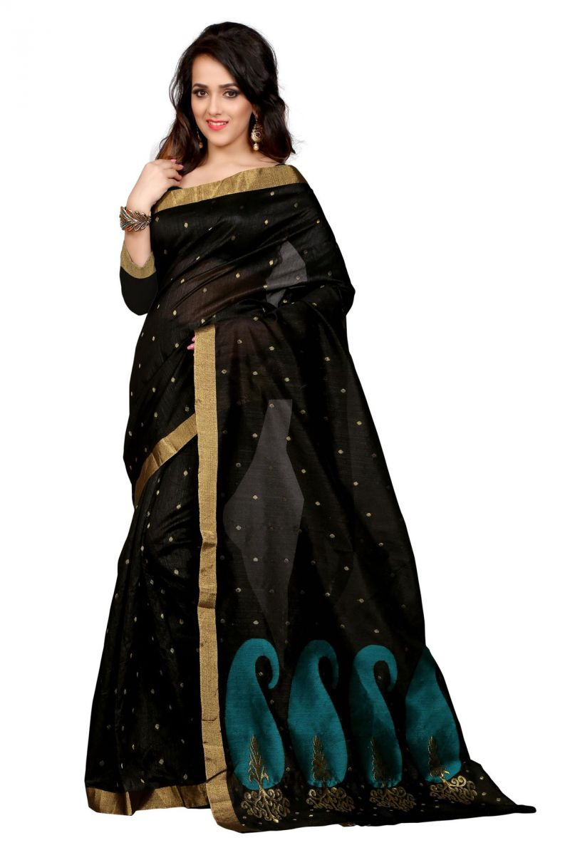 Buy Holyday Womens Poly Cotton Saree, Black (raj_rama_mango) online