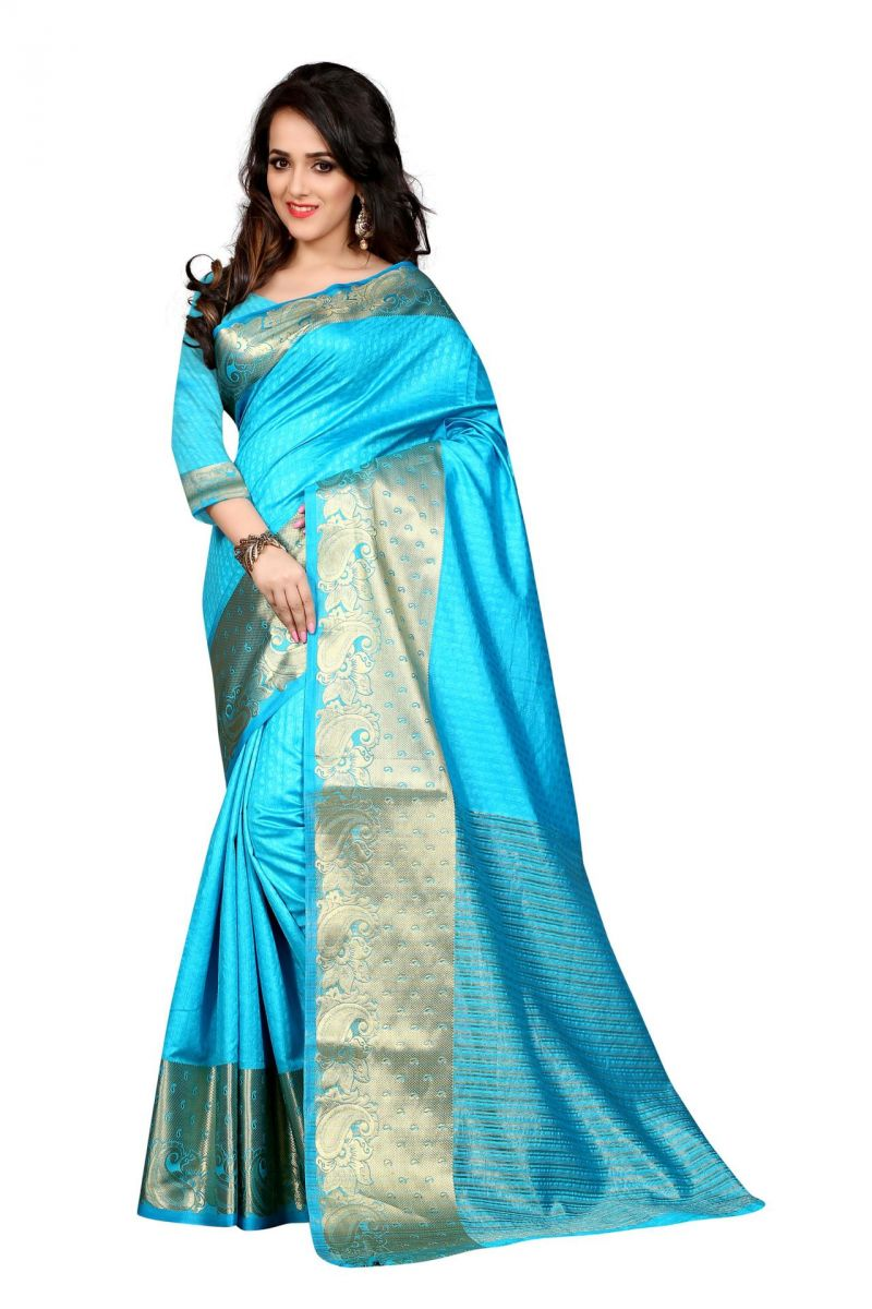 Buy Holyday Womens Poly Cotton Saree, Firozi (sharma_mango_firozi) online