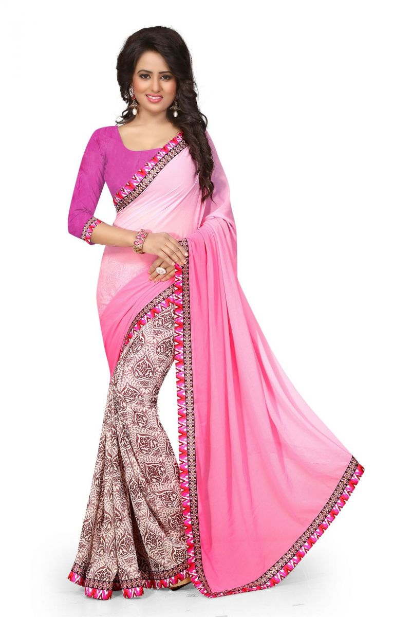 Buy Holyday Womens Georgette Saree, Pink (holy_designer_pink) online