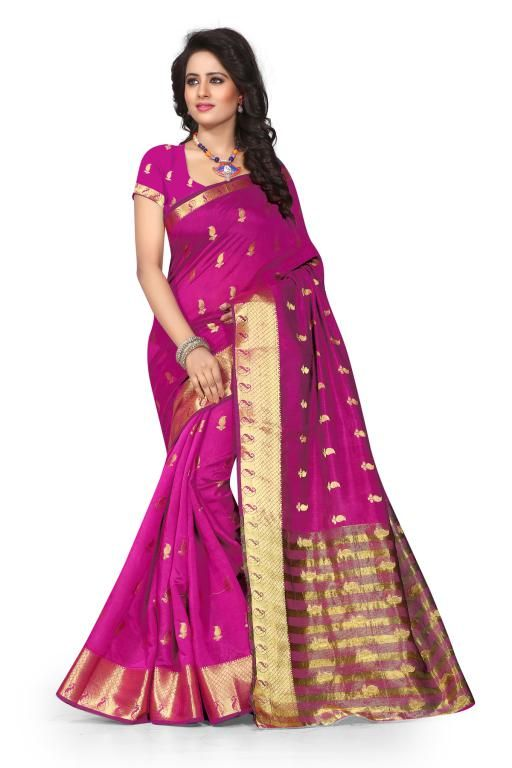 Buy Holyday Womens Poly Cotton Self Design Saree, Red (tamasha_kery_pink) online