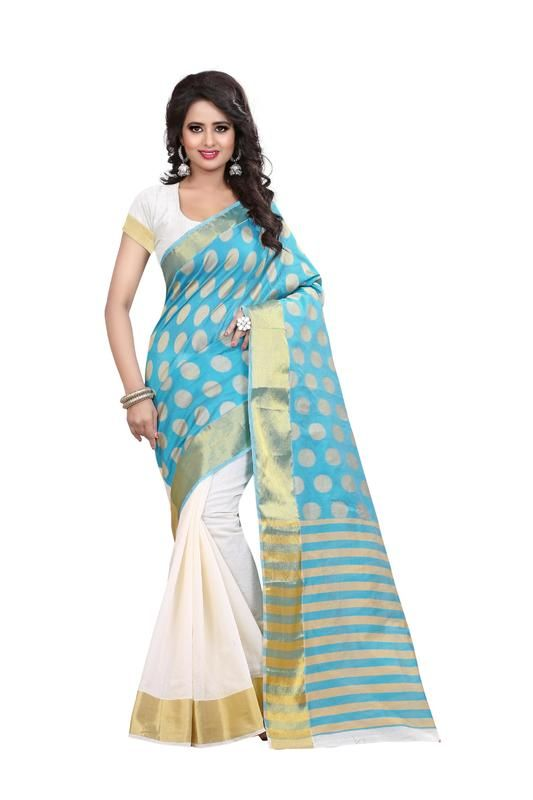 Buy Holyday Womens Silk Thread Saree_ Sky Blue (with Blouse) online