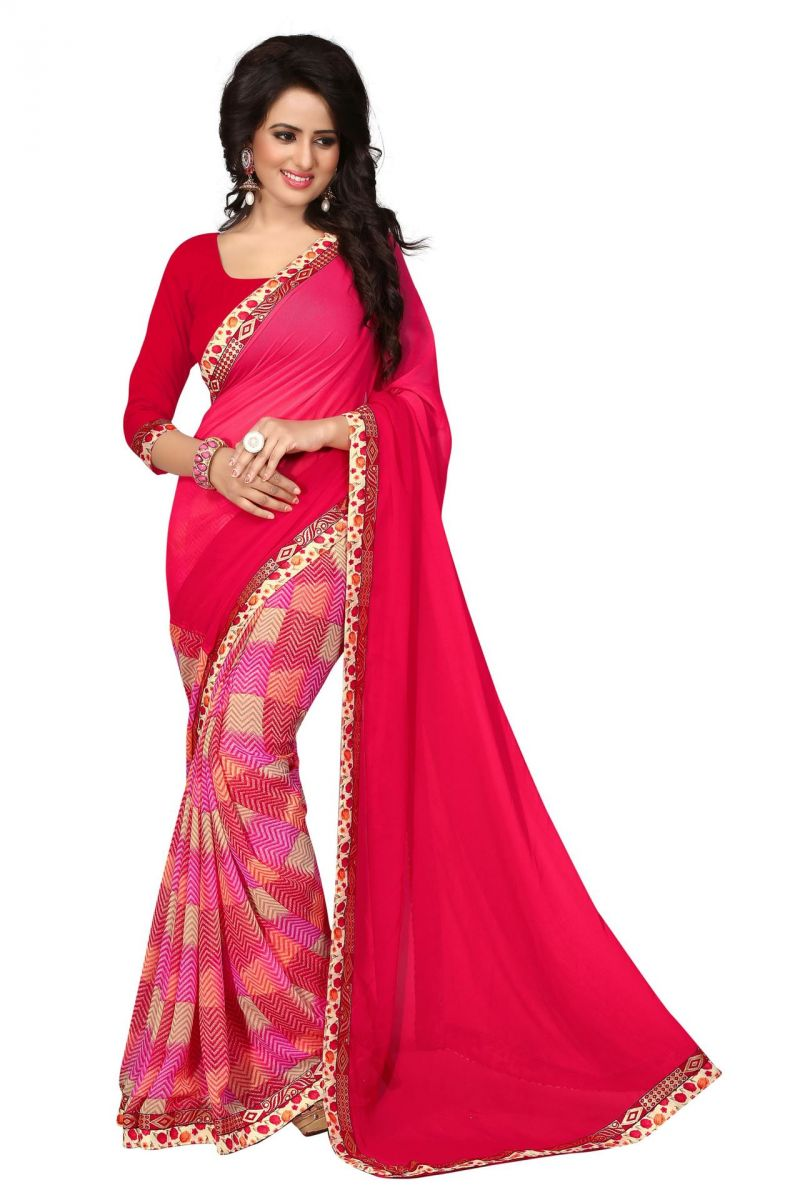 Buy Holyday Womens Georgette Saree, Red (holy_designer_red) online