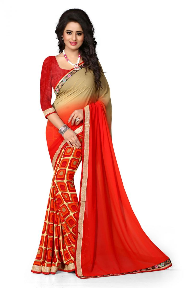 Buy Holyday Womens Georgette Saree, Red (holy_red_squar) online