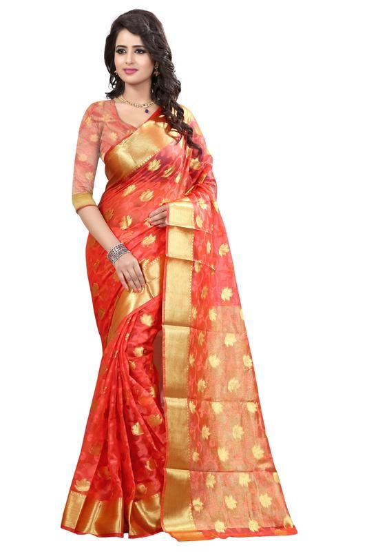 Buy Holyday Womens Brasso Thread Saree_ Peach (with Blouse) online
