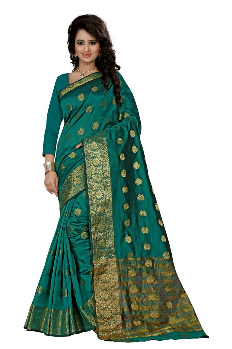 Buy Holyday Womens Cotton Silk Saree, Rama (tamasha_beauty_rama) online