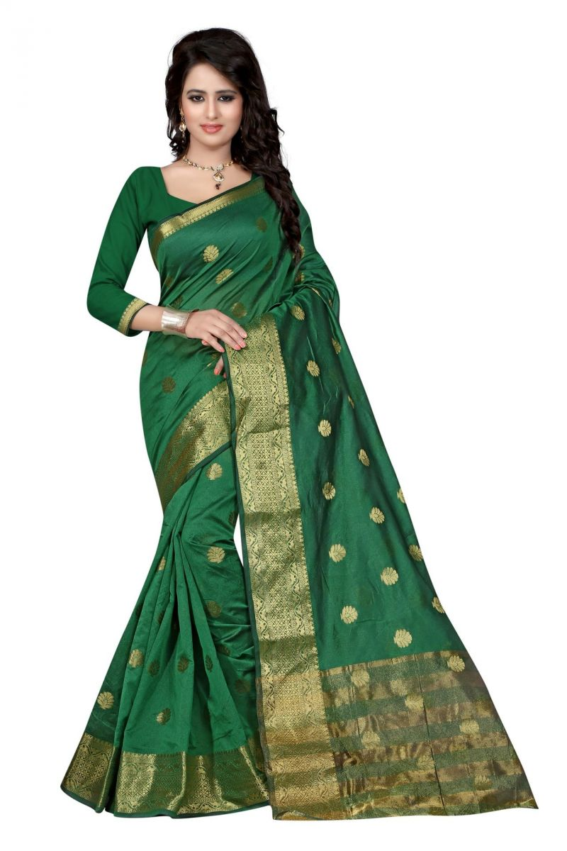 Buy Holyday Womens Cotton Silk Saree, Green (tamasha_beauty_green) online