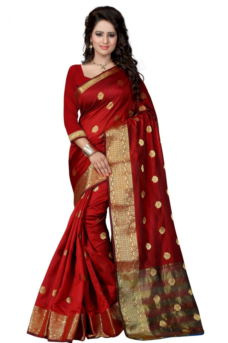 Buy Holyday Womens Cotton Silk Saree, Maroon (tamasha_beauty_maroon) online
