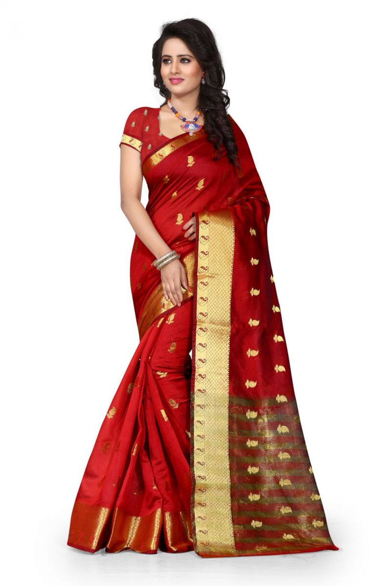 Buy Holyday Womens Cotton Silk Saree, Red (tamasha_kery_red) online