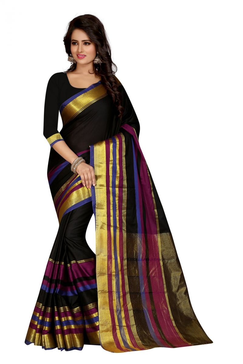 Buy Holyday Womens Silk Cotton Saree, Black (sharma_aura_black_leriya) online