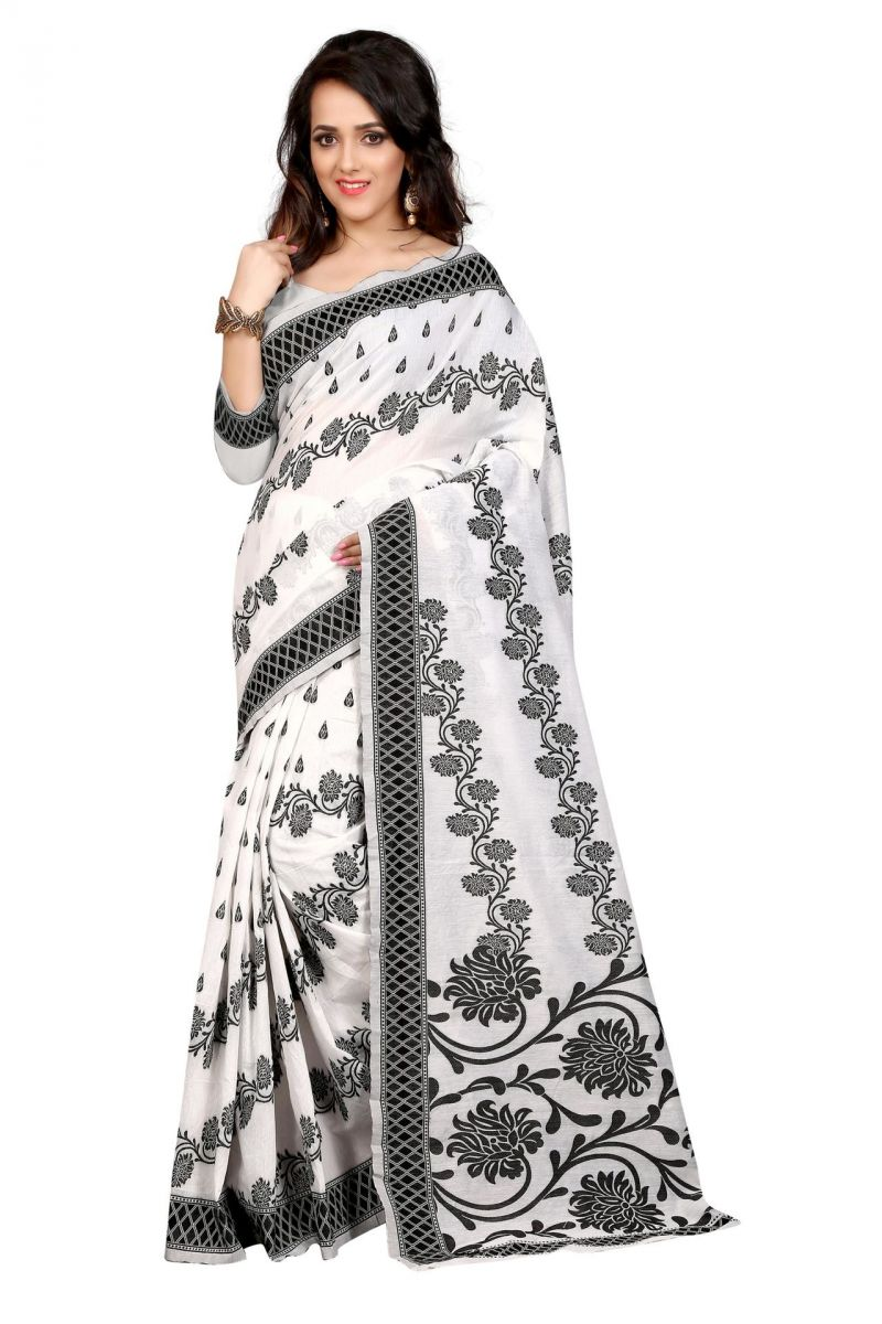 Buy Holyday Womens Cotton Saree, White (cotton_simple_white) online