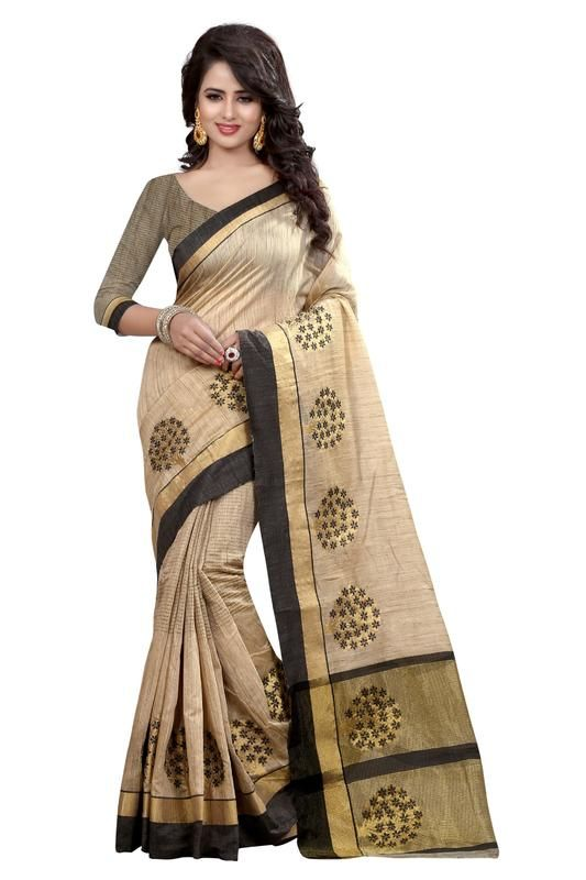 Buy Holyday Womens Banarasi Silk Thread Saree_ Wood Black (with Blouse) online