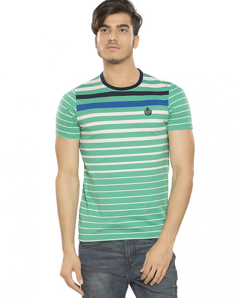 Buy Bonaty Cotton Round Neck Stripes T-shirt For Men online