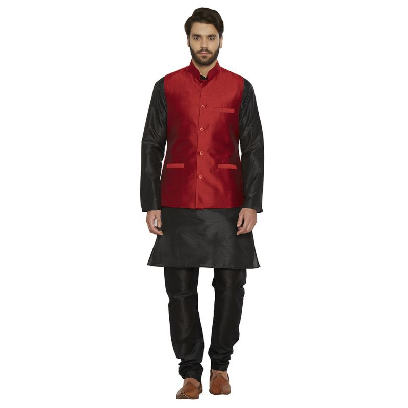 Buy Irin Blended Silk Maroon Koti (waistcoat) And Black Kurta Churidar For Men online