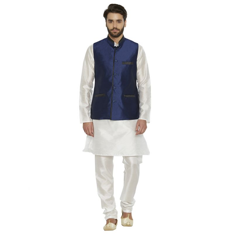 Buy Irin Blended Silk Navy Blue Koti (waistcoat) And White Kurta Churidar For Men online