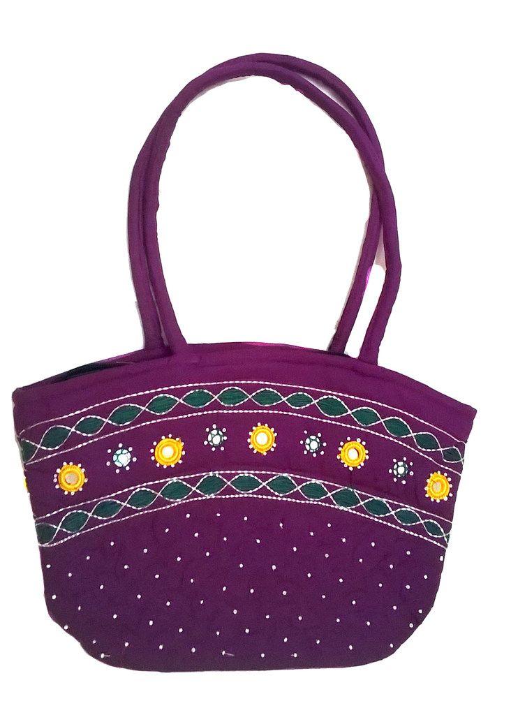 Irin Handcrafted Purple Oval Cotton Handbag Online