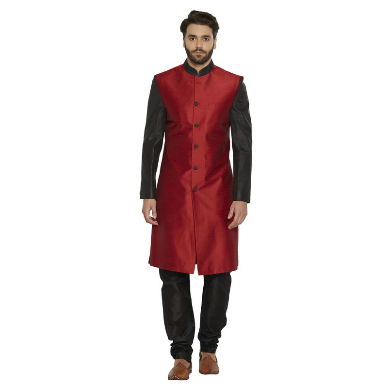 Buy Irin Designer Ethnic Blended Silk Red And Black Indo-western Sherwani For Men online