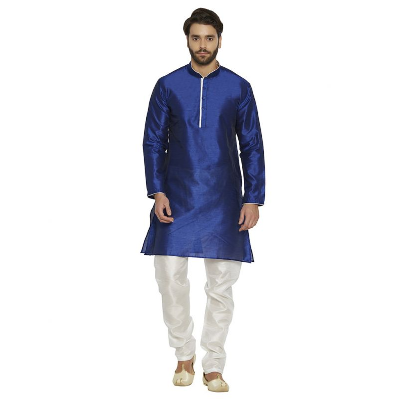 Buy Irin Ethnic Blended Silk Royal Blue Solid Kurta And White Churidar For Men online