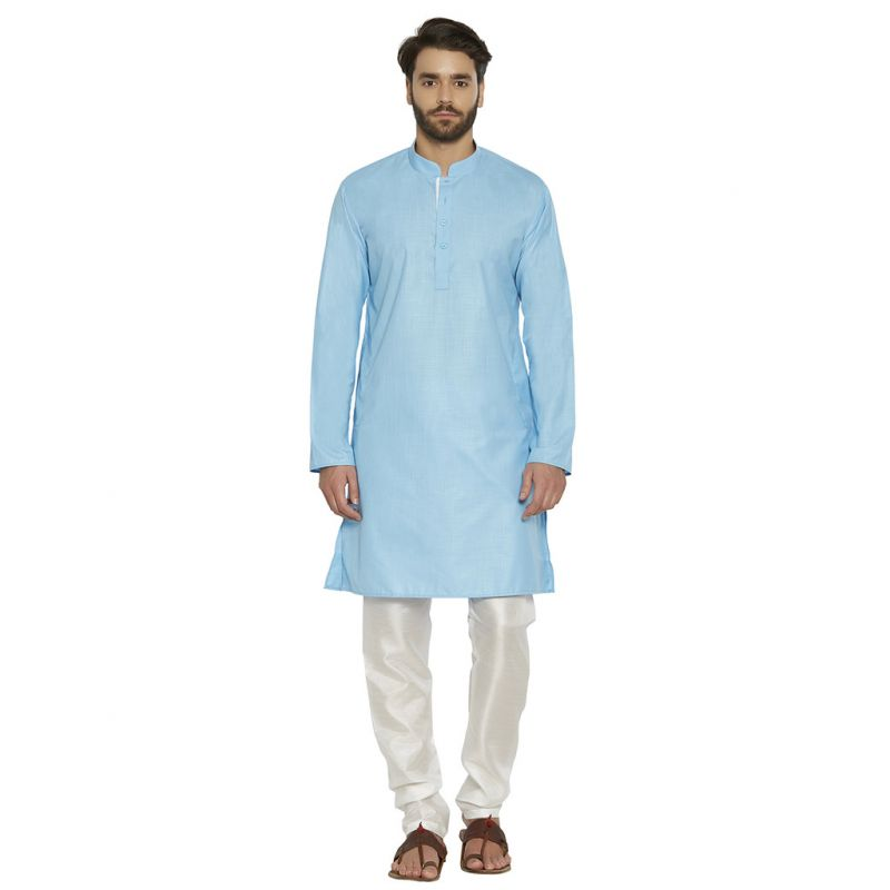 Buy Irin Designer Ethnic Poly Cotton Sky Blue Solid Kurta And White Churidar For Men online