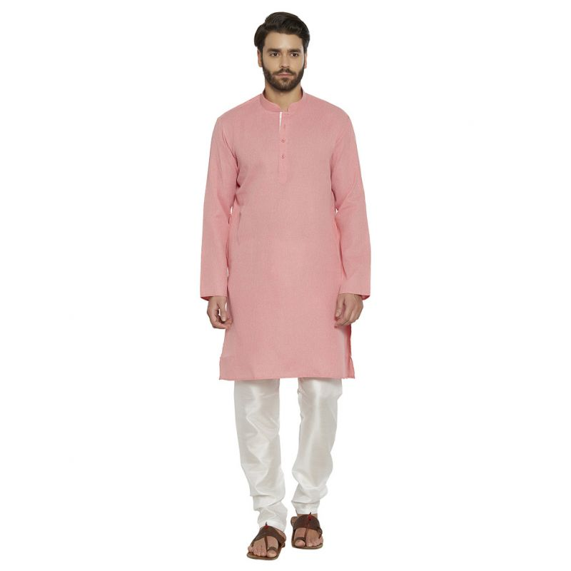 Buy Irin Ethnic Poly Cotton Pink Self Design Kurta And White Churidar For Men online
