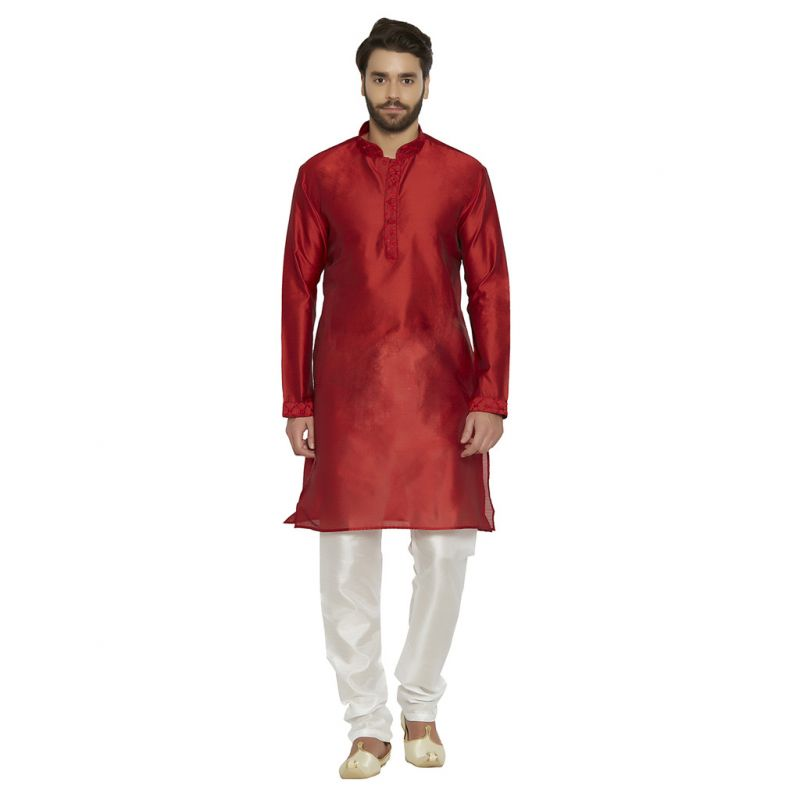 Buy Irin Ethnic Blended Silk Maroon Embroidery Kurta And White Churidar For Men online