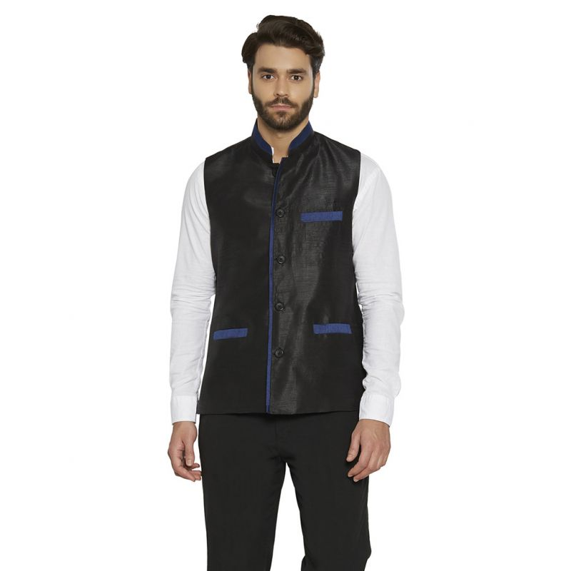 Buy Irin Designer Ethnic Blended Silk Black Solid Koti (waistcoat) For Men online