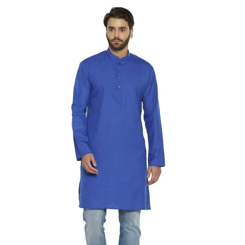 Buy Irin Ethnic Poly Cotton Royal Blue Solid Straight Kurta For Men online