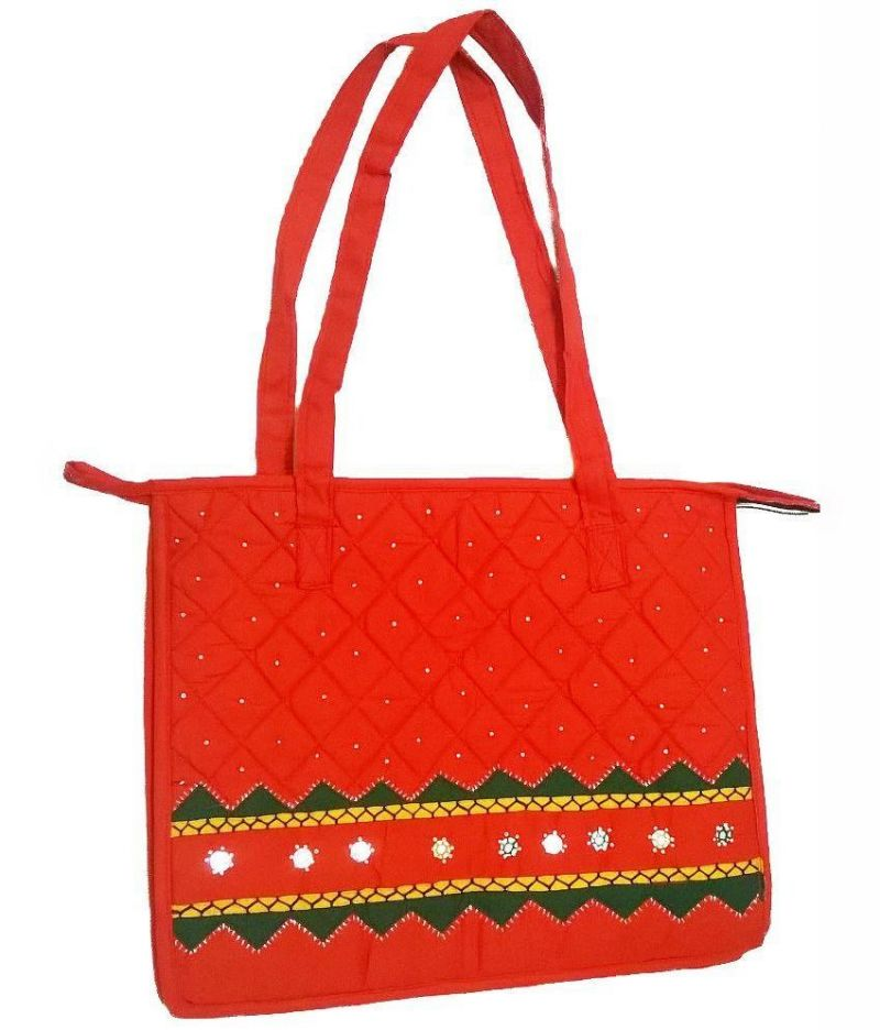 Buy Irin Handcrafted Orange Cotton Shopping Bag online