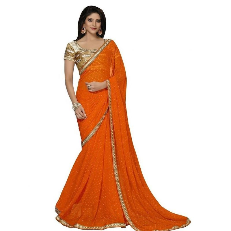 Buy Sargam Fashion Embroidered Orange Chiffon Traditional Casual Wear Saree. online