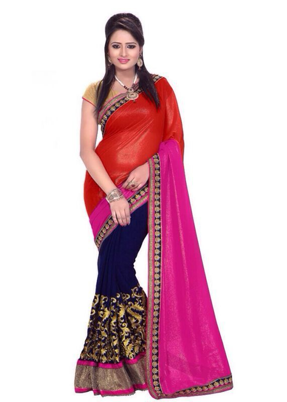 Buy Kazipu Womens Orange & Pink Colour New Designer Padding 60gm Georgette Saree With Blouse Piece (code - Pfs1095) online