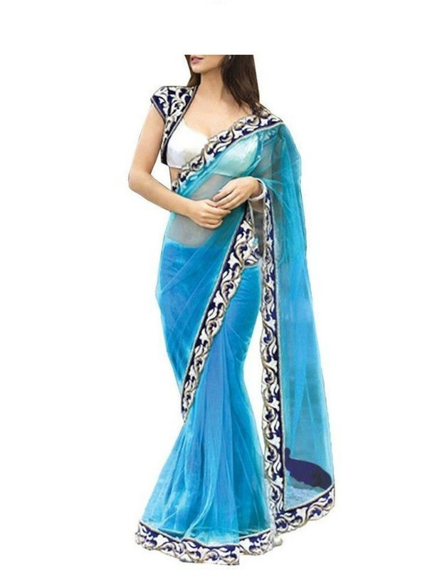 Buy Snv Fashion Sky Blue Net Bollywood Saree With Lace Bordered - Verna online
