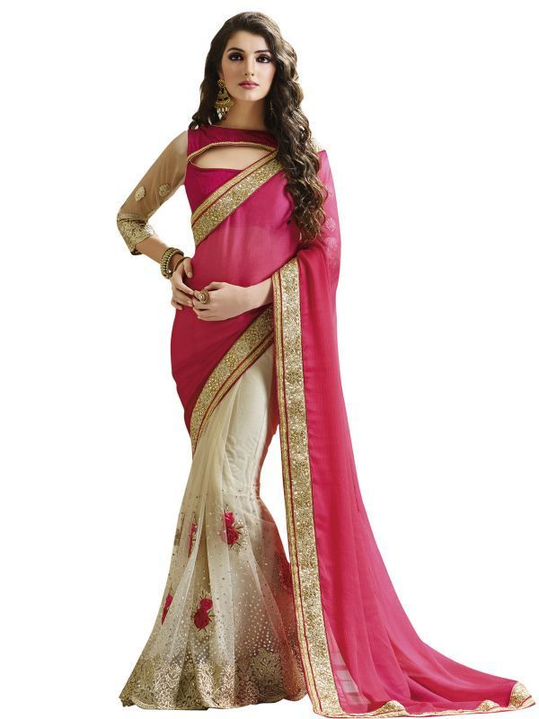 Buy Styloce Pink And White Georgette And Net Sareesty-8942 online