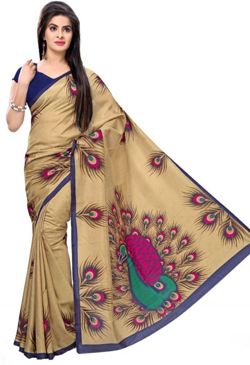 Buy Sargam Fashion Printed Beige Art Silk Traditional Casual Wear Saree - Mayur_pankh online