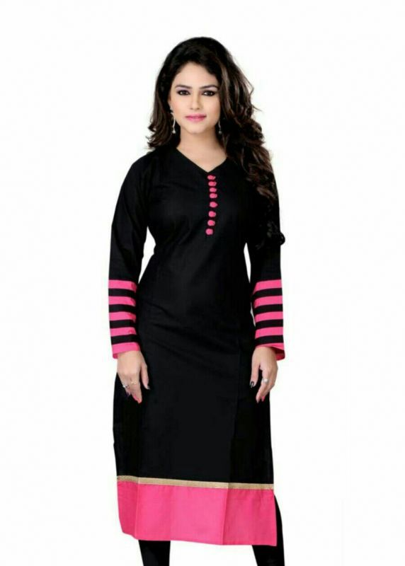 Buy Crystal Fashion Black Designer Cotton Kurti online