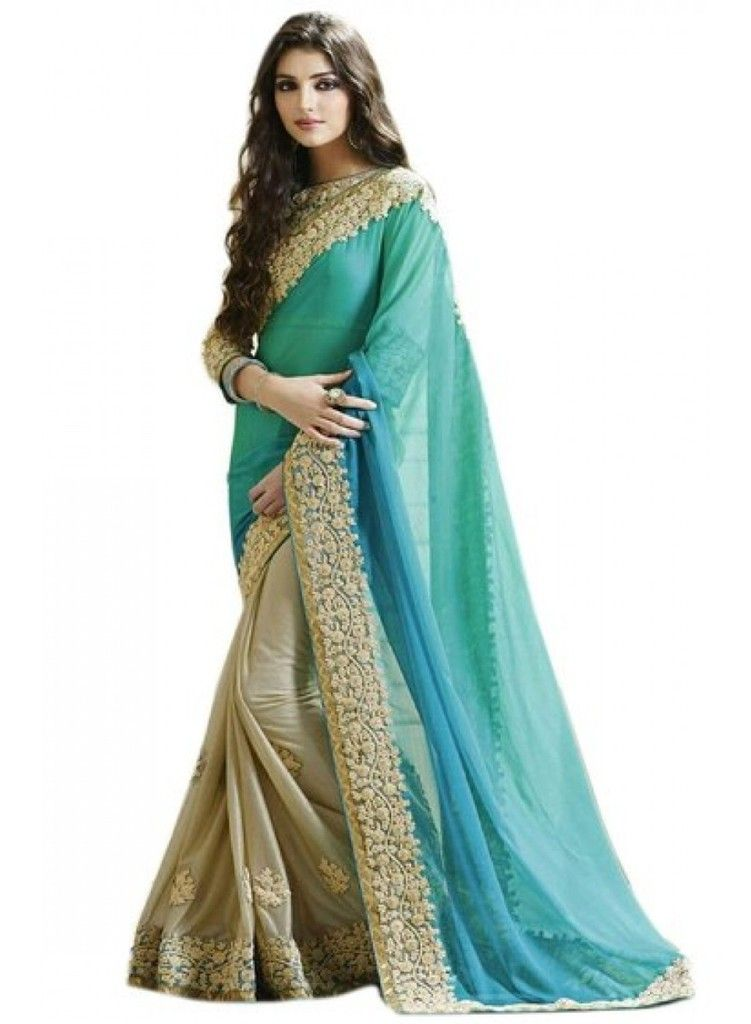 Buy Sargam Fashion Embroidered Light Blue And Beige Georgette Traditional Partywear Saree. online