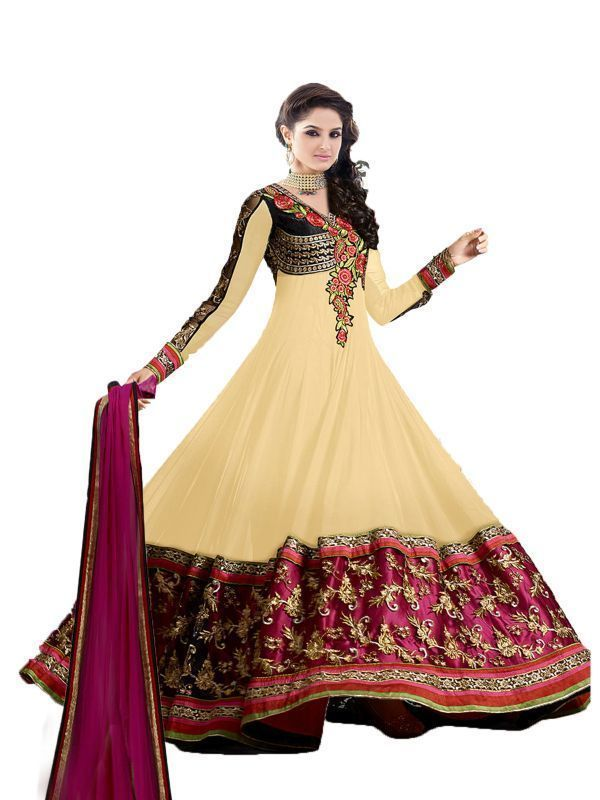 Buy Khantil Heavy Embroidered Floor Cream Length Anarkali Suit online