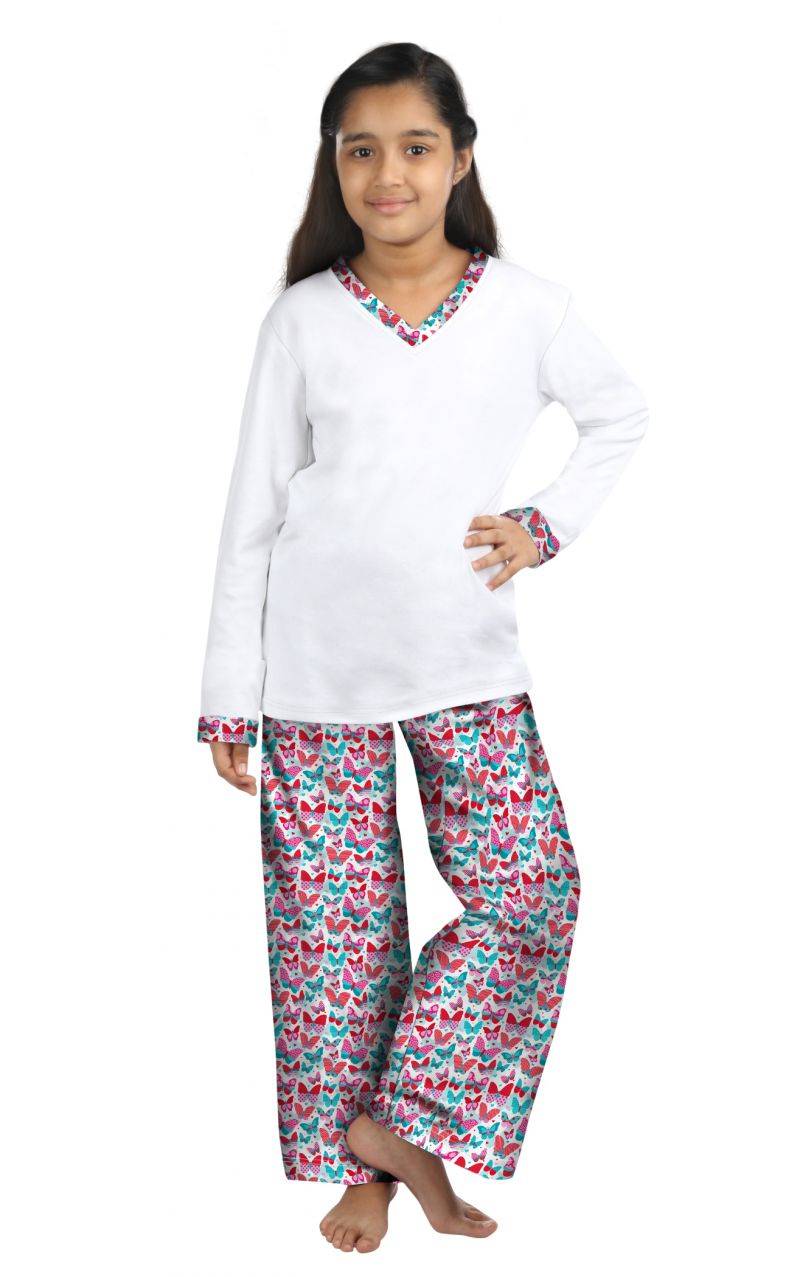 Buy Oranges And Lemons Butterfly Print Cotton Fabric Tshirt & Pyjama Set For Girls online