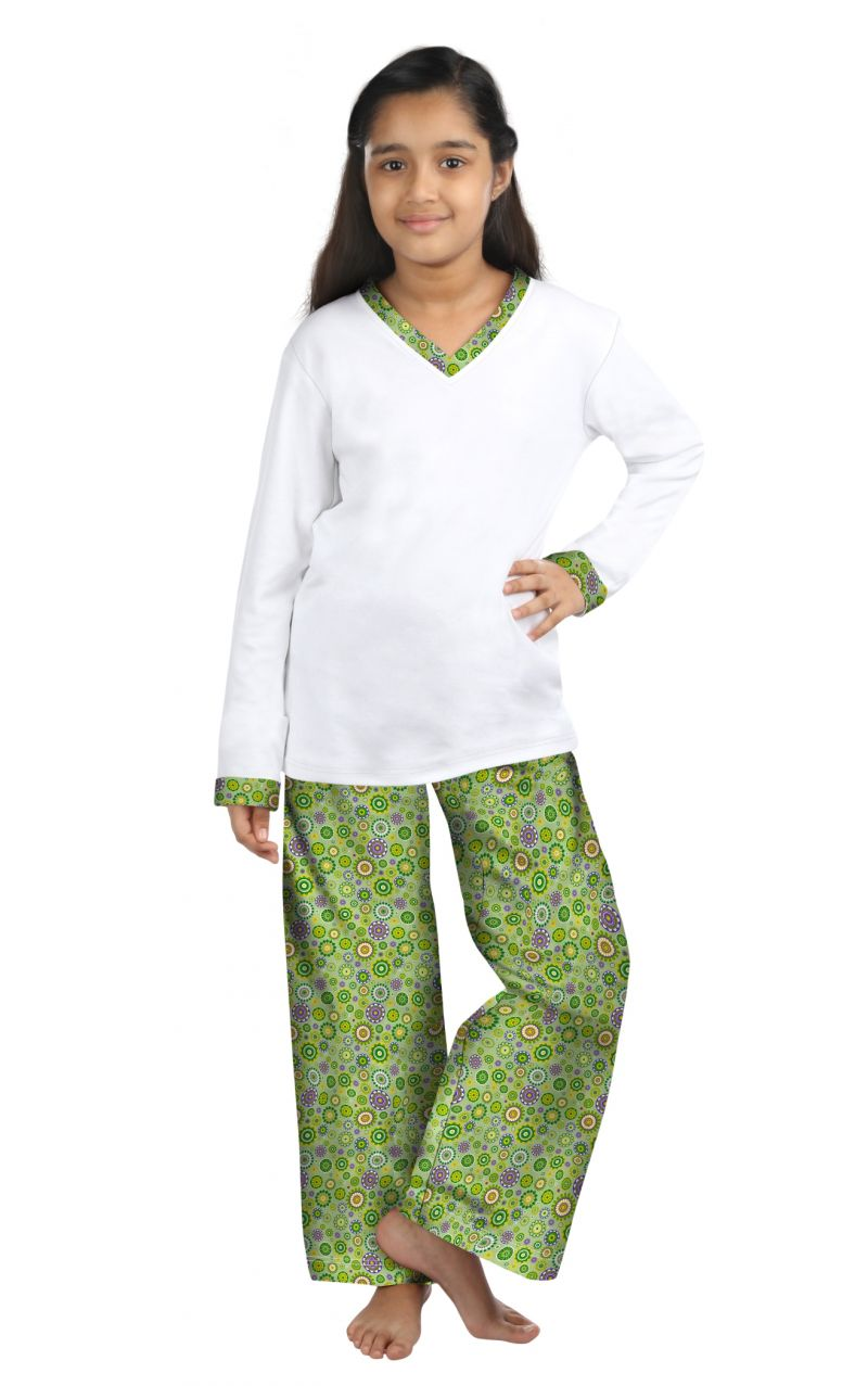 Buy Oranges And Lemons Green Flowers Print Cotton Fabric Tshirt & Pyjama Set For Girls online