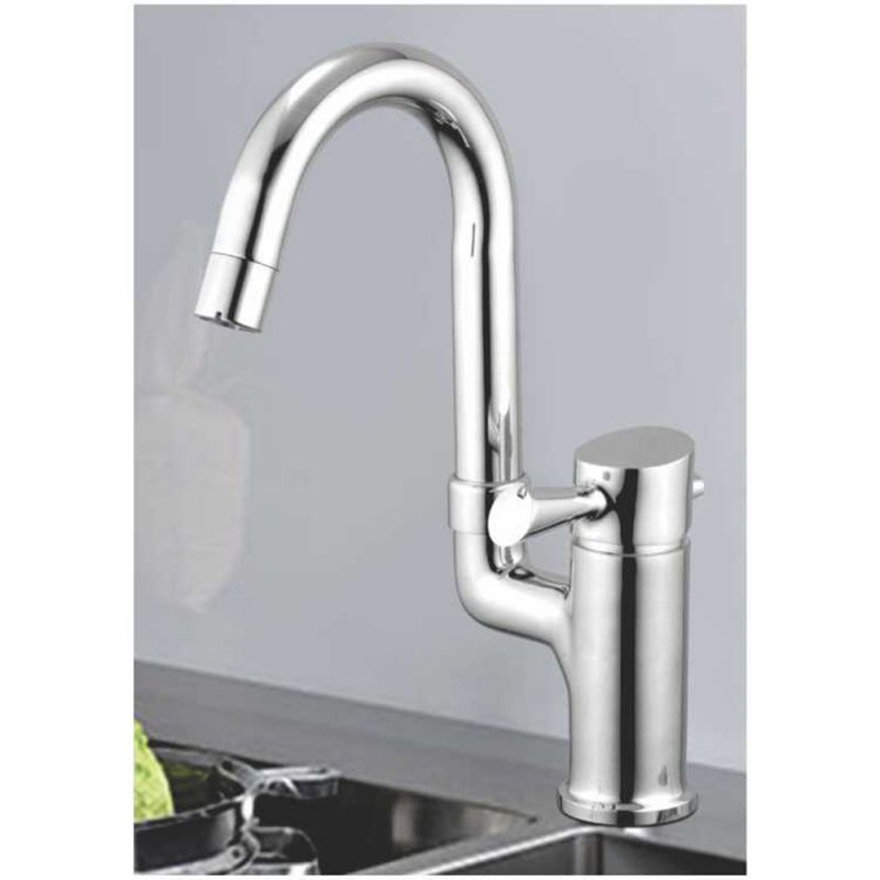 Buy Oleanna Fancy Brass Single Lever Sink Mixer Table Mounted Silver Water Mixer online