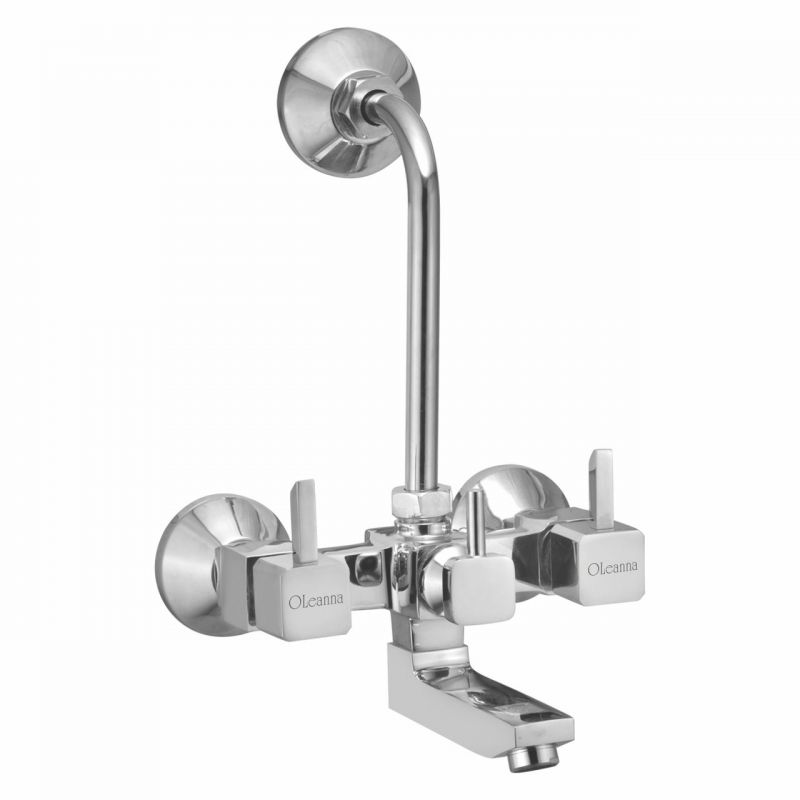 Buy Oleanna Livon Brass Wall Mixer Telephonic With L-bend Silver Water Mixer online