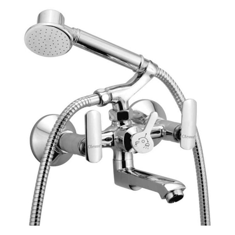 Buy Oleanna Speed Brass Wall Mixer Telephonic With Crutch Silver Water Mixer online