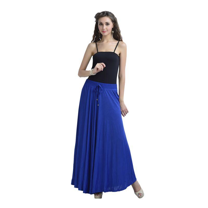 Buy Zola Women's Lycra Royal Blue Color Flared Skirt 391365-rb-free online