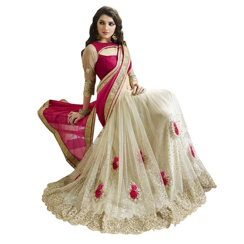 Buy Fab Dadu Designer Pink And White Georgette And Net Saree (fv3088 Pink) online