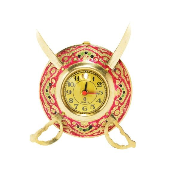Buy Brass Dhal Talwar Brass Analog Wall Clock 15 Cms from Rajasthan online