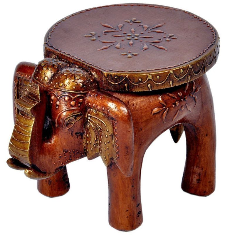 Buy Mariyam Wooden Elephant Stool For Decoratives Showpiece online