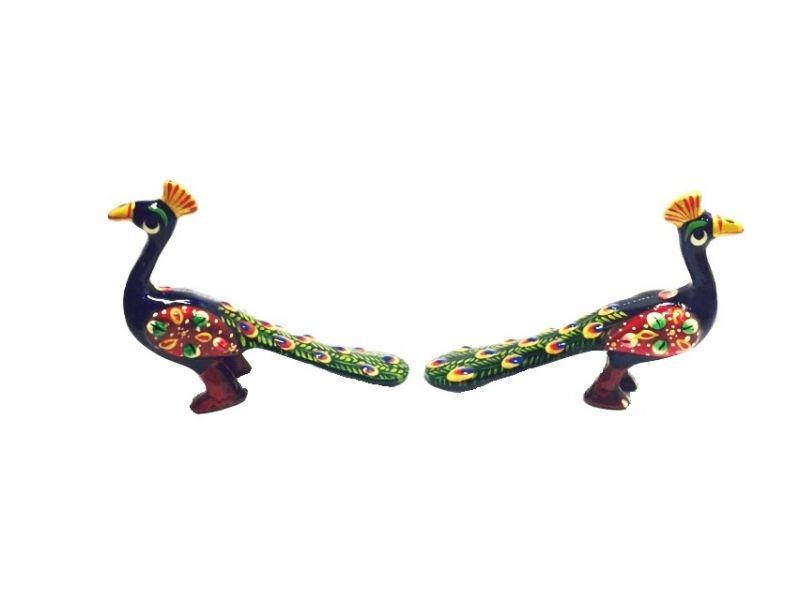 Buy Metal Meenakari Peacock Pair Set Showpiece online